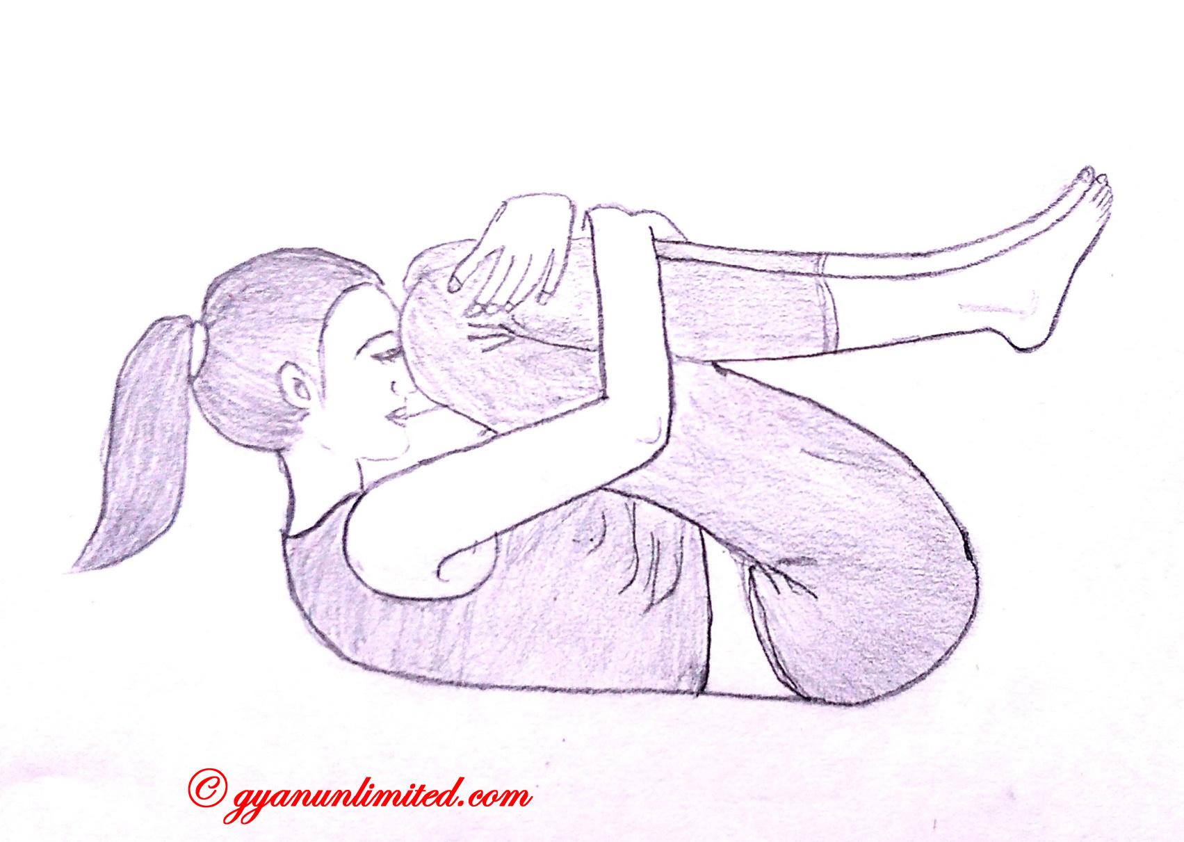 pawanmuktasana Schritte und Vorteile &quot;width =&quot; 1703 &quot;height =&quot; 1211 &quot;/&gt;</p><p>Im Folgenden werden die einfachen Schritte zum Ausführen von Pawanmuktasana beschrieben.</p><ul><li>Legen Sie sich in gerader Position auf den Rücken oder in Rückenlage.</li><li>Atme ein und hebe deine Beine um 90 Grad an</li><li>Atmen Sie aus, beugen Sie die Beine und versuchen Sie, die Knie zur Brust zu bringen.</li><li>Fassen Sie Ihre Knie an, indem Sie Ihre Finger ineinander greifen.</li><li>Heben Sie den Kopf und berühren Sie Ihre Stirn mit den Knien.</li><li>Atmen Sie normal, während Sie die Pose beibehalten.</li><li>Zuerst den Kopf nach unten und dann mit den Beinen.</li><li>Dies ist die eine Runde.</li><li>Machen Sie 2 bis 3 Runden.</li></ul><h2>Vorteile von Pawanmuktasana</h2><ol><li> <strong>Massage der inneren Organe</strong>: Bauchmuskeln werden zusammengedrückt und Nerven stimuliert, wodurch die Durchblutung gesteigert wird, wodurch die Effizienz der Bauchmuskulatur gesteigert wird. In der Tat ist dies die ausgezeichnete Yoga-Haltung, um den Bauch zu massieren.</li><li> <strong>Schadgase entfernen</strong>: Das grundlegende Motto der Asana besteht darin, schädliche Gase, Giftstoffe und eingeschlossene Gase aus dem Körper freizusetzen, wodurch die Wirksamkeit verschiedener Organe erhöht wird.</li><li> <strong>Verstopfung</strong>: Es macht die Verdauung glatt und gut, um Verstopfung zu überwinden.</li><li> <strong>Fettverbrennung</strong>: Die regelmäßige Anwendung dieser Asana hilft bei der Verbrennung von Bauchfett.</li><li> <strong>Gewichtsverlust</strong>: Die regelmäßige Praxis und die Aufrechterhaltung eines bestimmten Zeitraums trägt dazu bei, Bauchfett, Arme, Oberschenkel, Gesäß zu reduzieren und ist somit für die Gewichtsabnahme geeignet.</li><li> <strong>Sterilität und Impotenz</strong>: Die regelmäßige Anwendung der Haltung ist gut für die Behandlung von Sterilität und Impotenz, da sie einen ausreichenden Druck auf die Fortpflanzungsorgane